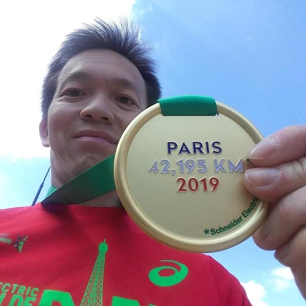 Geschafft - Paris Marathon Medaille ergattert